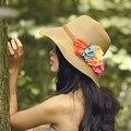Corea Del Verano Para Mujer Sombrero Floral con Mujer sombreros de Paja Casquillo de la Playa Ocasional Sólido para la mujer