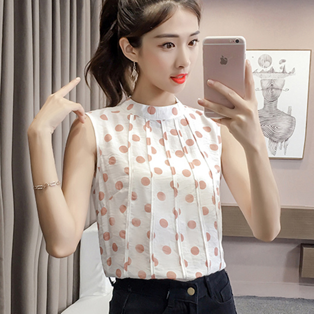 52c159ca86 US $16.61  Women Chiffon Blouses Shirts Summer Polka Dot Sleeveless Blouse  Fashion ladies tops Sleeveless Casual Clothing Blusa Feminina-in Blouses &  ...