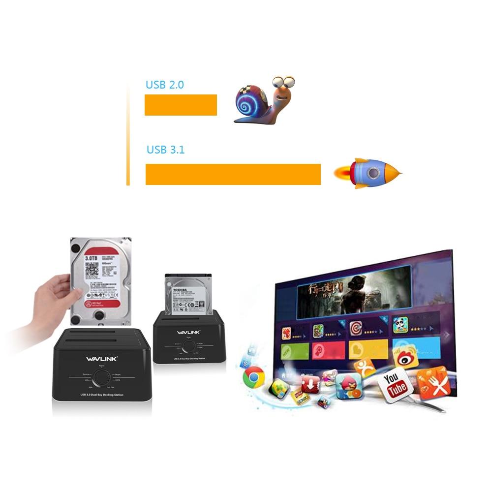 USB C Wavlink 3.1 vers SATA 2 baie Station d'accueil pour disque dur 5Gbps 12 to pour 2.5/3.5 pouces HDD/SSD Clone hors ligne et sauvegarde à un bouton - 3