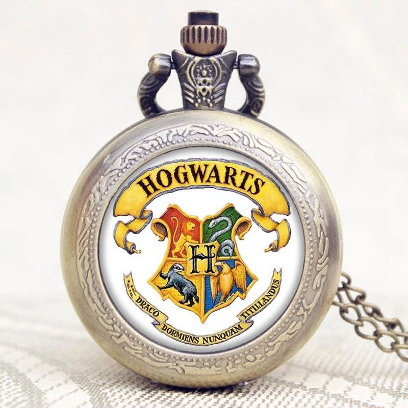 Popular Movie Extension Hogwarts School Symbol Design Glass Dome Pocket Watch Best Gift To Children
