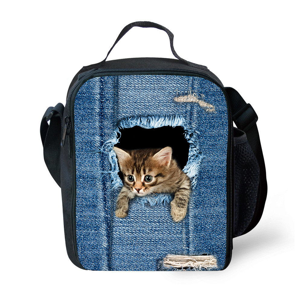 Portable Small Lunch Bag Cat Dog Animal Print Insulated Cooler Bags Thermal Food Picnic Bags Kids Lunch Box Tote Picnic Bag