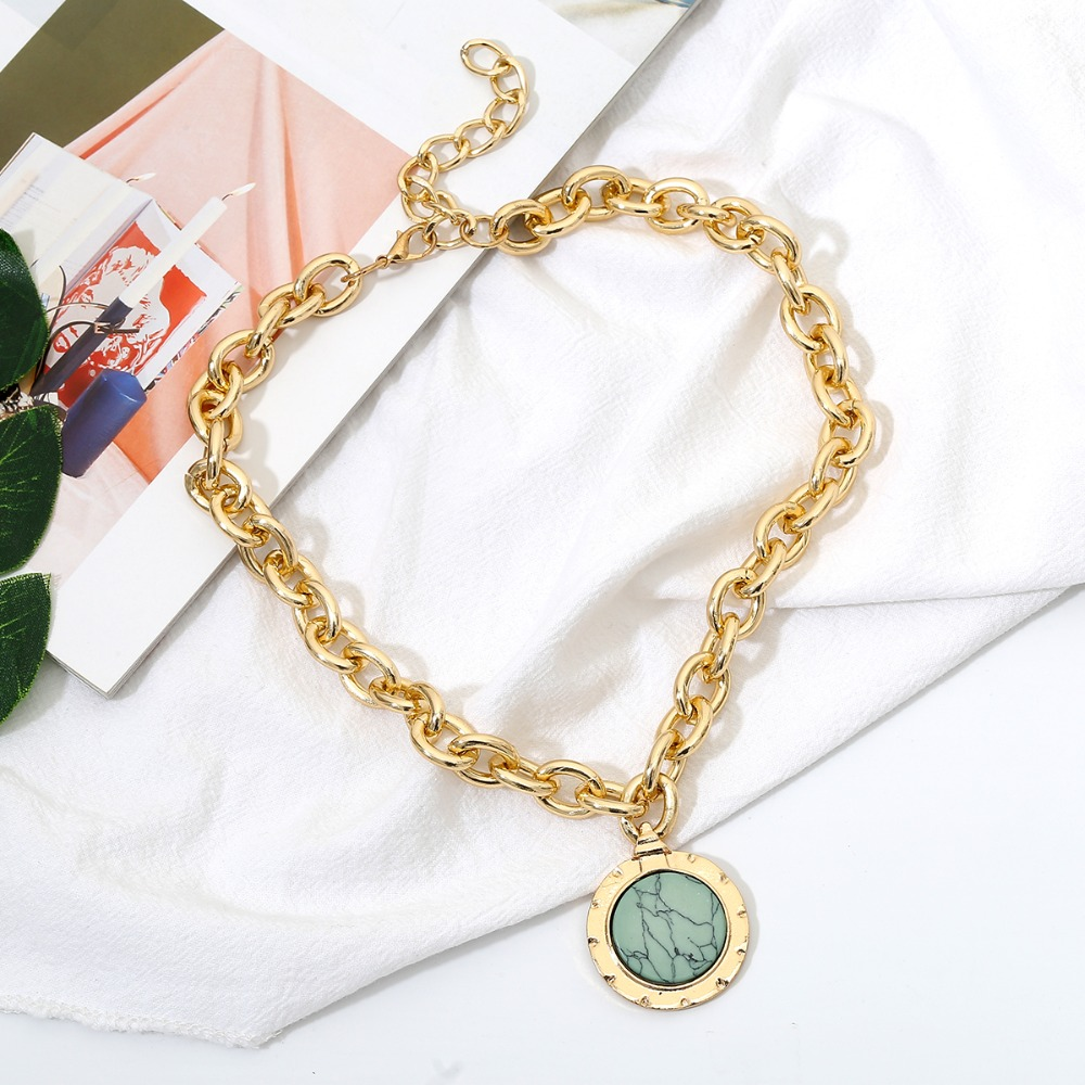 IngeSight.Z Vintage Green Stone Pendant Necklace Statement Gold Color Heavy Metal Long Chain Necklace for Women Jewelry Gifts