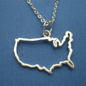 Hollow Outline Texas State America USA State TX State Necklaces city Geographic map hometown souvenir necklace pendant jewelry