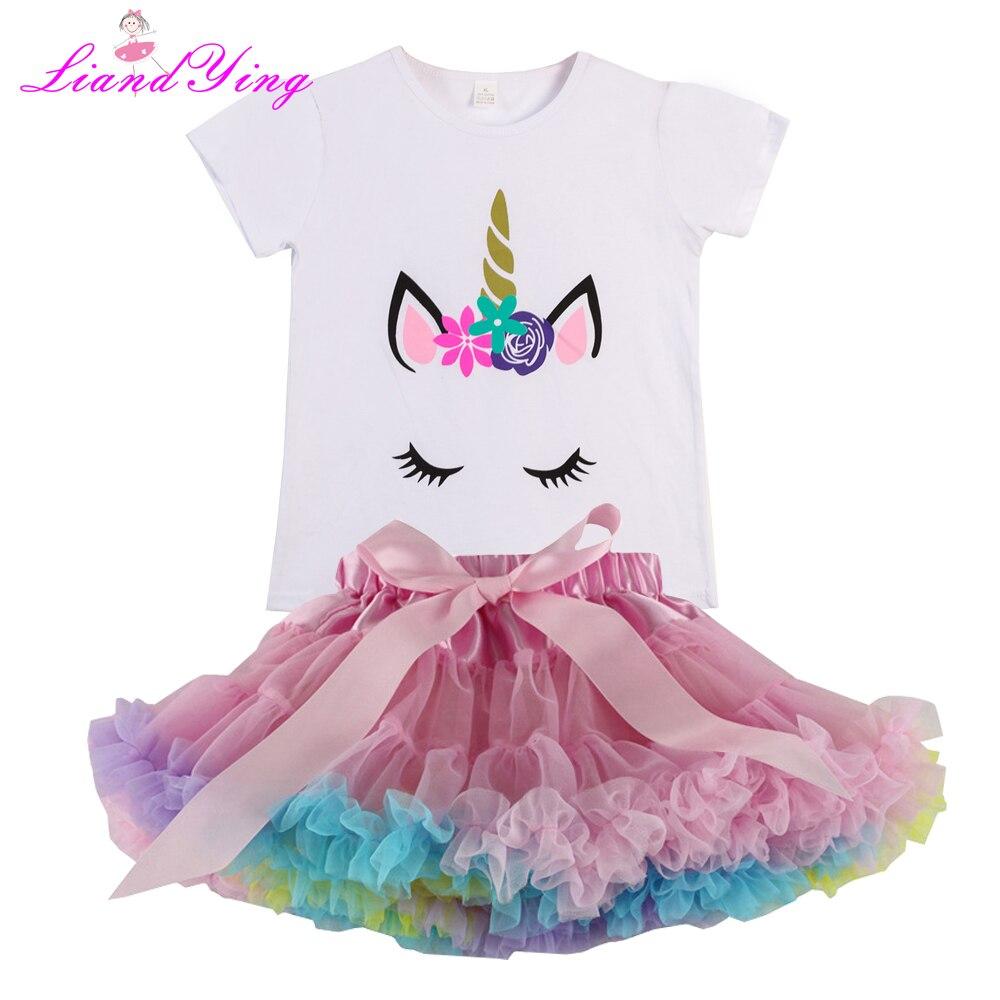e139213ec Conjuntos de ropa de verano para niñas Arco Iris Casual algodón estampado  de caballo Camiseta de manga corta + faldas tutú arcoíris niños ropa de ...