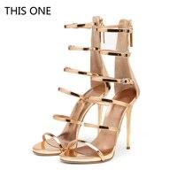Лидер продаж женские Высокий каблук Сандалии золотые сандалии обувь вечерняя Обувь Дамская обувь из лакированной кожи на высоком каблуке