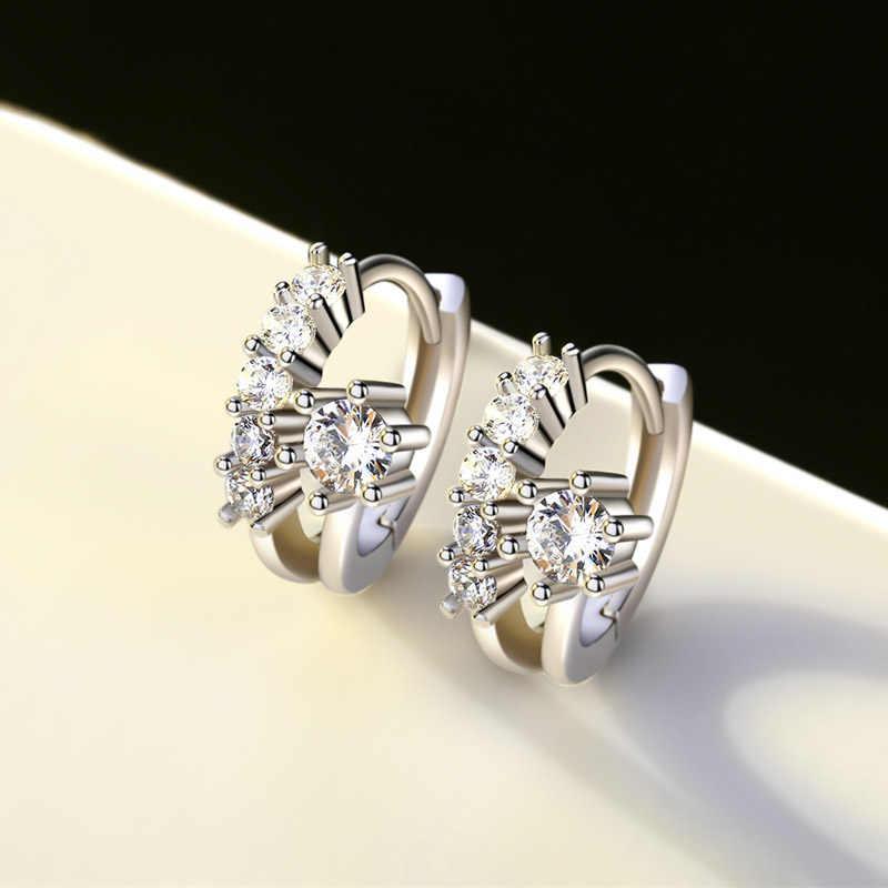 Haute qualité élégant 925 argent Sterling AAA zircone femmes boucles d'oreilles brillant Micro clair cristal boucles d'oreilles de mariage bijoux cadeau