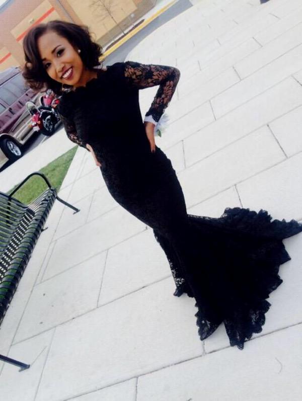 New Black Lace Mermaid Prom Dresses 2017 Elegant Long Sleeves Scoop
