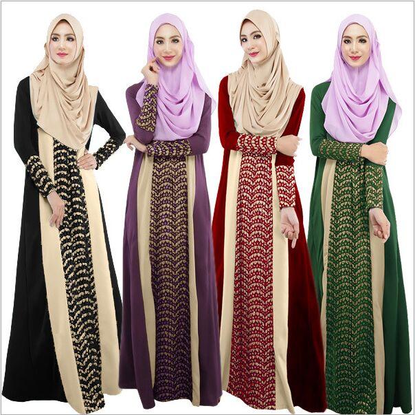 2015 Maxi Long Dress Long Sleeve For Muslimah Dresses Turkish Islamic Lace  Kaftan Pathwork Robe Dubai Arabe Fashion abaya jubah d5887b5807