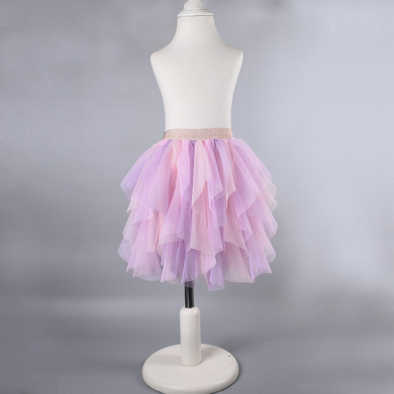 Baby girls uneven rainbow tutu Princess colorful pettiskirt Tulle mesh ball gown Rainbow unicorn tutu skirt uneven hem striped midi skirt