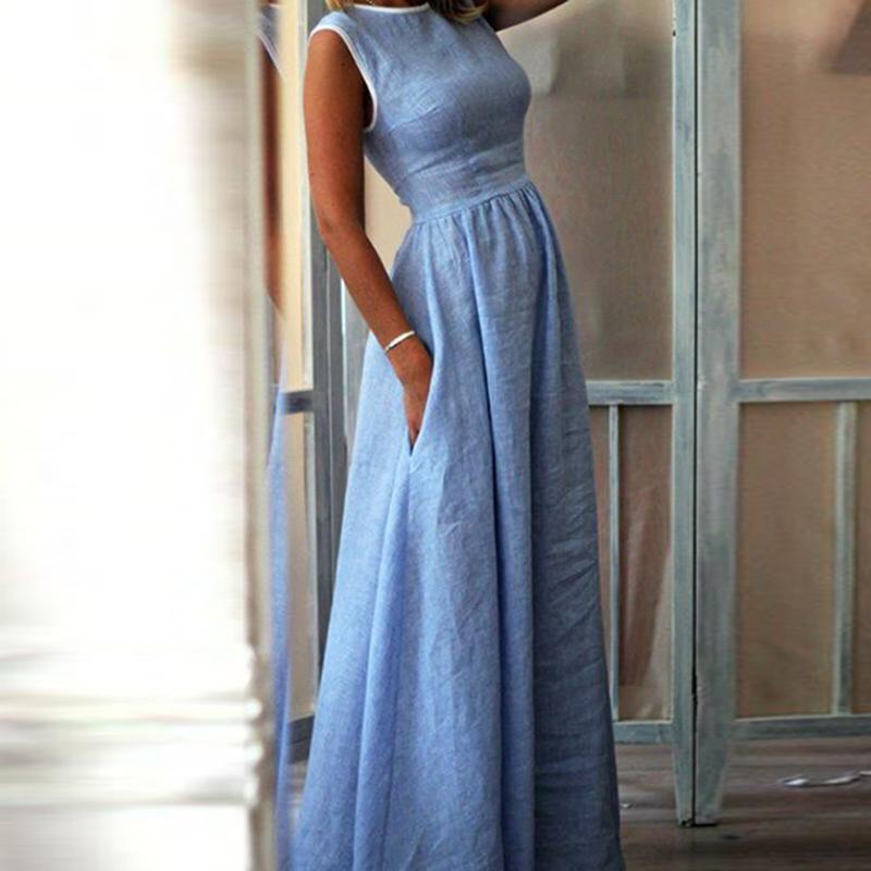 Fenghua Fashion Pocket Sleeveless O-neck Long Party Dress El