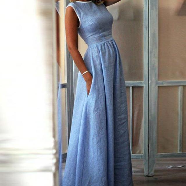 1c299f06b7f6ee Fenghua mode poche sans manches o cou longue robe de soirée élégante femmes  été 2019 décontracté solide Maxi a ligne robes Boho