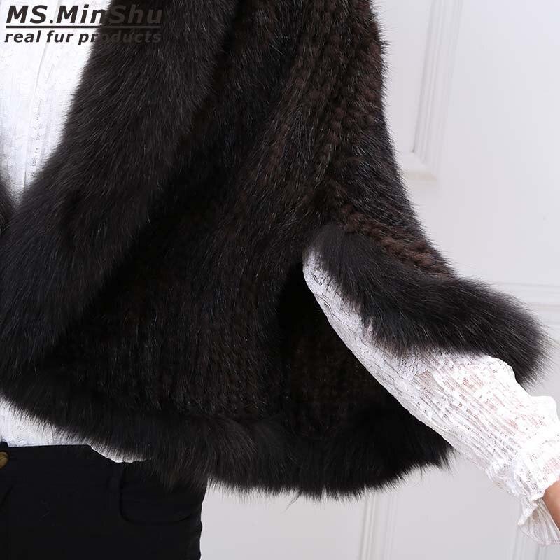 Sleeveless Woven Mantel Minshu Jacke Handgestrickte SchwarzWeinrotKaffee Frau Pelz Cape Mink Fox Damen Outwear Poncho Kragen MUqLSzVpG