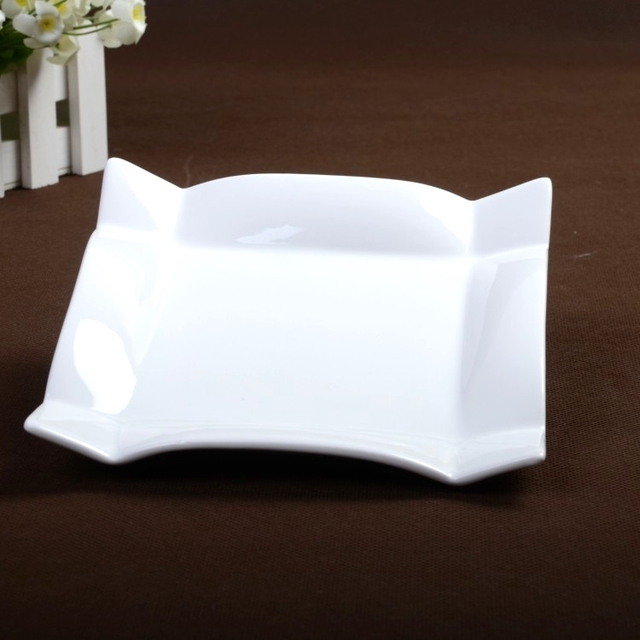 10u0027u0027 Unique Ceramic Bended Serving Dish Porcelain Square Dinner Plate Tableware for Fruits & 10u0027u0027 Unique Ceramic Bended Serving Dish Porcelain Square Dinner ...