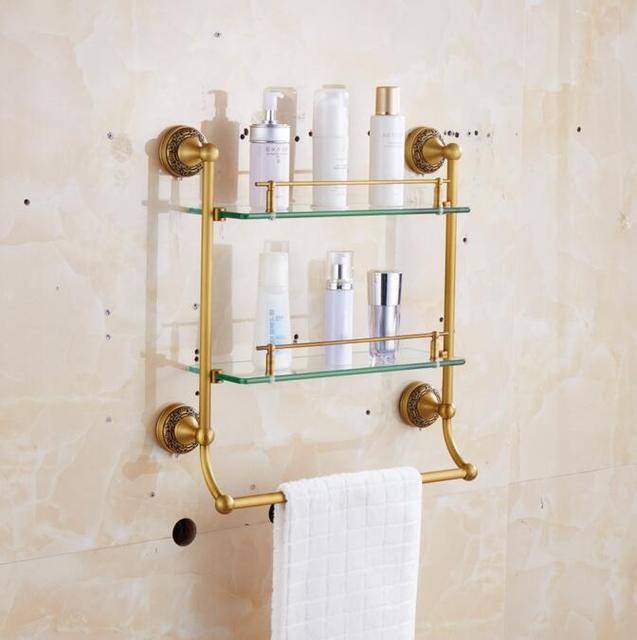 ORB Bathroom Glass Towel Racks BLACK Carved Bathroom Accesserries High  Quality Bath Dresser Deck Bath Hardware