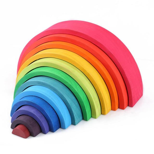 12 piezas de madera educativo Montessori arcoíris rompecabezas color arco puente construcción formas clasificación juguete preescolar