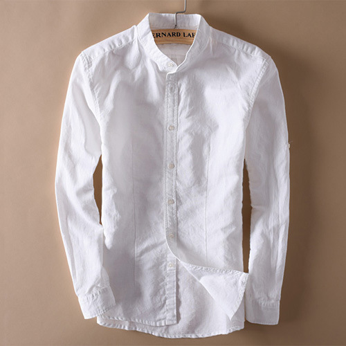 Men Stand Collar Linen Shirts Long Sleeve Mens Button-Front Quality Casual Shirts Slim Fit Solid Dress Shirts Men Clothes TS-154