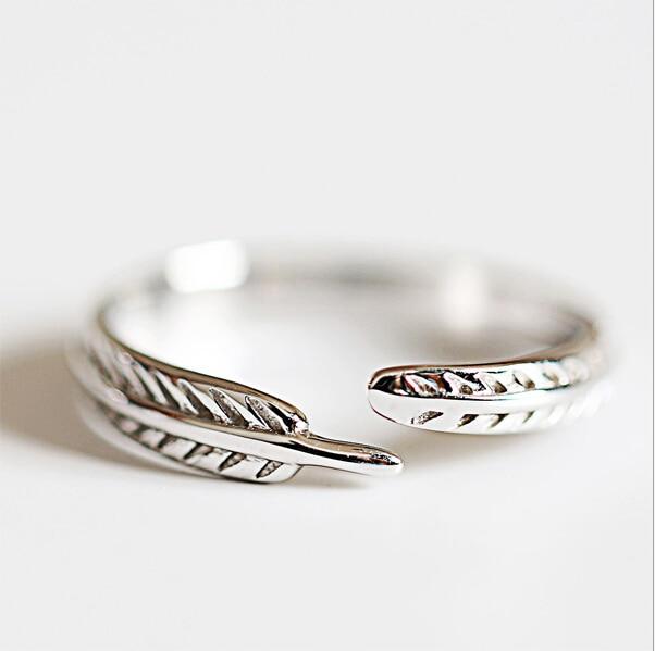 71b028295145 RI126 pluma anillos lindos 100% 925 joyas de plata de la vendimia ajustable  para el