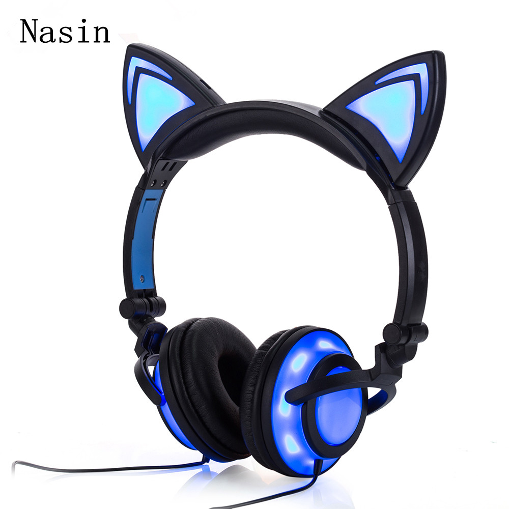 Nasin wired Stereo Cat Ear Headphones Flashing Glowing cat ear headphones Gaming Headset ...