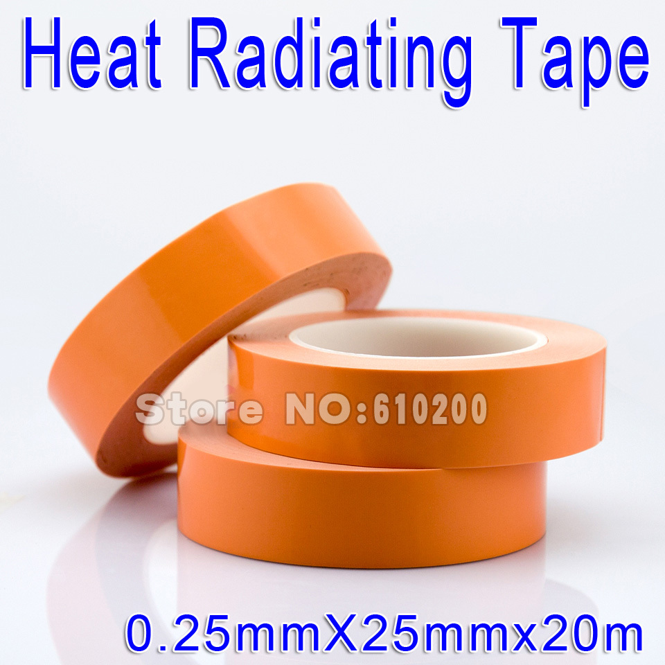 ФОТО Free shipping New Products Wholesale 25mm*20m Glass fiber Thermal double-sided adhesive tape Heat conduction Tape CPU GPU fixed