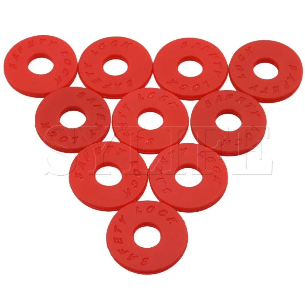 10Pieces Guitar Savers Strap Lock 25mm OD 9mm ID Musical Accessory Red