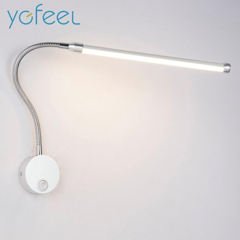 6 Вт LED Настенные светильники с ручкой переключателя современный Спальня настольные Освещение 360 градусов Регулируемая AC90-260V