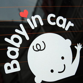 5PCS Baby In Car 15cm*13cm Baby On Board Funny PVC Car Body Window Warning Sign Child Car Stickers And Decals for Car-styling image