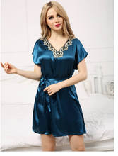 Free Shipping 2016 New  summer style silk temptation Nightgown Nightdress pijama Ladies Sleepwear Women nightwear AW8288