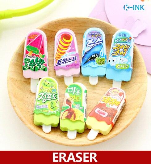 24pcs / Lot Novelty Fun Rubber Eraser , Ice Cream Shaped Eraser For Kids , Cute Food Eraser As Korean Stationary