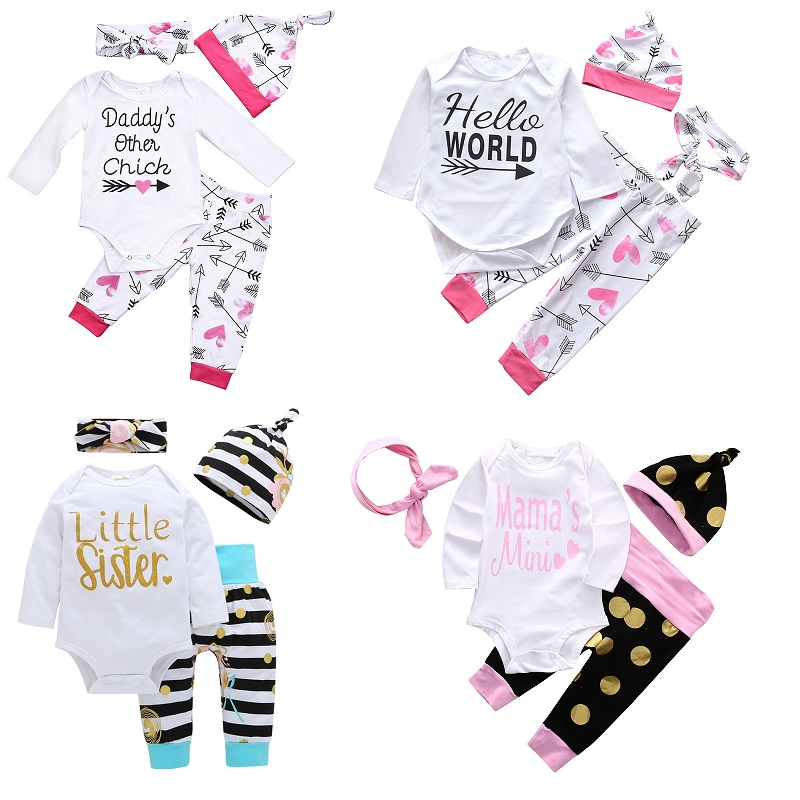 $10.98 per Vieeolove Baby Girls Sets Spring Long Sleeve Romper + Floral Pants + Bow Headband + Cap Children Outfits HX-964