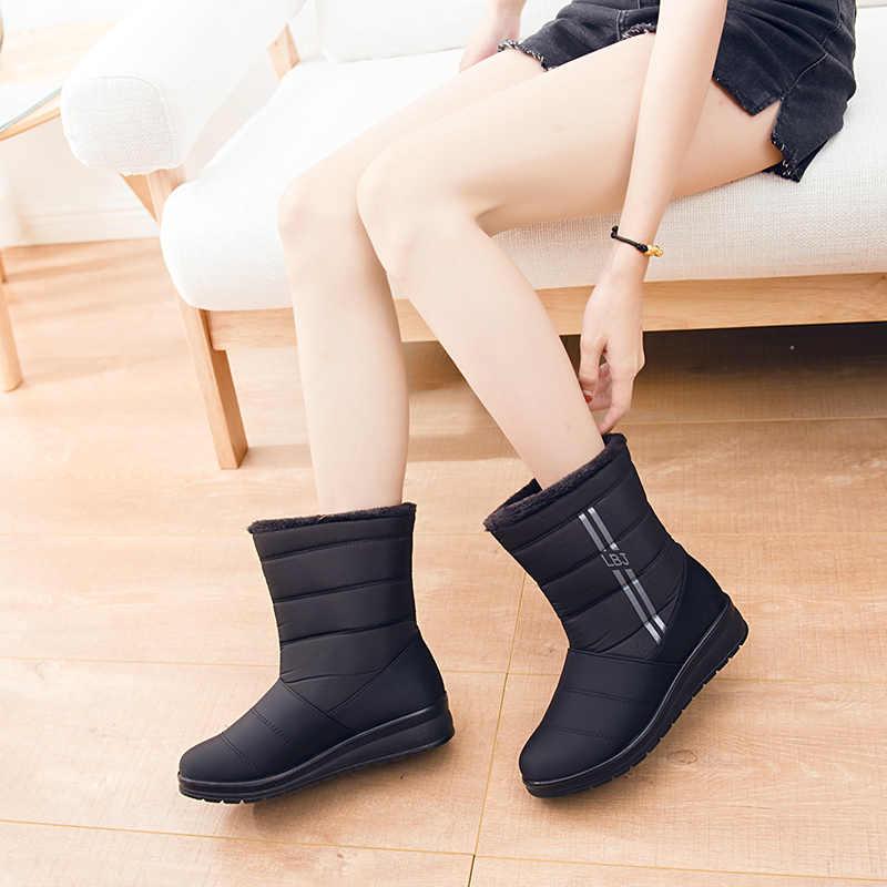 Orta buzağı kar botları kadın kışlık botlar anne ayakkabısı kadın botas mujer su geçirmez kadın günlük çizmeler kış kadın ayakkabı WSH3142