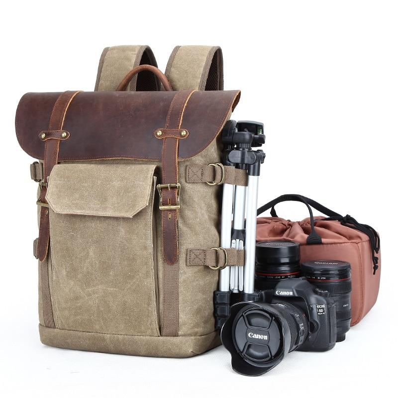 バティックキャンバス防水写真のバッグ屋外耐摩耗性大カメラ男性ニコン/キヤノン/ソニー富士フイルム  グループ上の スーツケース & バッグ からの バックパック の中 1