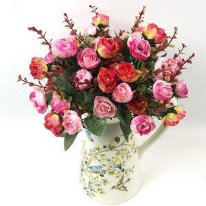 Image 5 - باقة أزهار حرير محاكاة ورود اصطناعية أوروبية جميلة من 21 رأسًا مناسبة لحفلات الزفاف