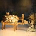Nuevos Productos Lámpara de Mesa Romántica Línea Longitud 120 Cm Ciervos De Madera marco de Mesa Led Lámparas 220 v Estilo Nórdico Mar Azul Botella de Escritorio luz