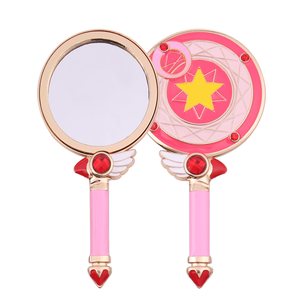 Oval Hand Held Makeup Mirror New Ladies Cute Sailor Moon Floral Mirror Pink Blue Beauty Dresser For Women Girl Children Gift Pretty And Colorful Beauty & Health