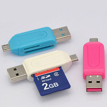 1pc Universal Card Reader Mobile phone PC Card Reader Micro USB OTG Card Reader OTG TF / SD Flash Memory Wholesale