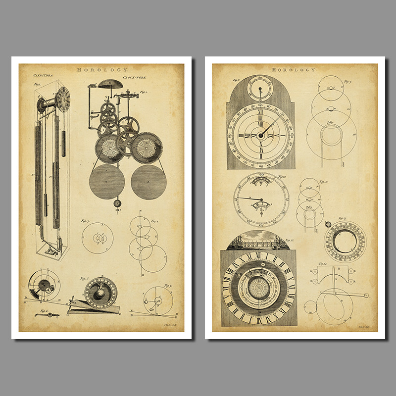 2piece set font b Physical b font Design drawings decoration clock wall art picture old photos
