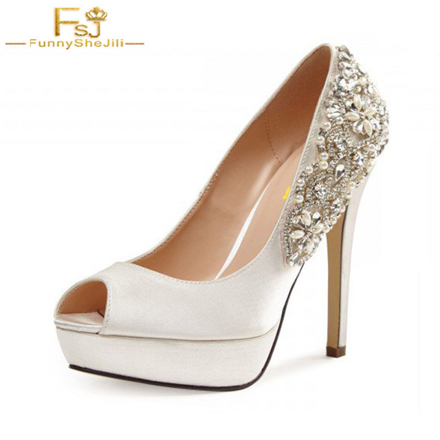 b3e1507a1f74 FSJ Summer Autumn Women White Bridal Elegant Shoes Platform Peep Toe Pumps  High Lace Heels Shoes Woman For Wedding Chausseure