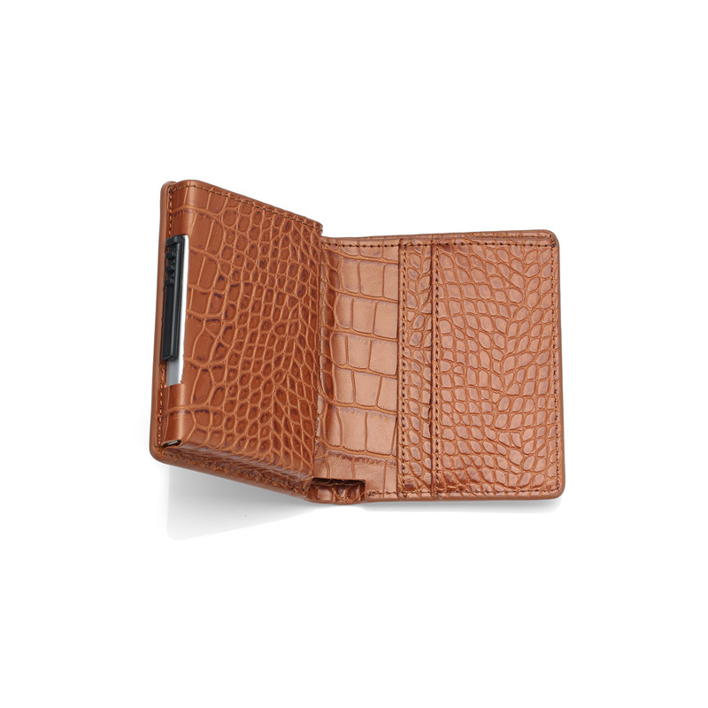 ZOVYVOL Leather alligator Credit Card Holder Aluminum Alloy RFID Blocking Card Wallet for Men Women PU Leather Business Holder in Card ID Holders from Luggage Bags
