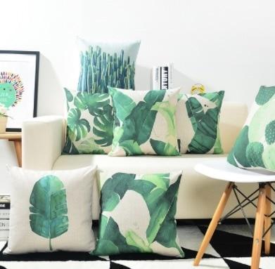 Green Plant Cactus Pillow Cases Gift Home Decoration Decor Emoji Kid