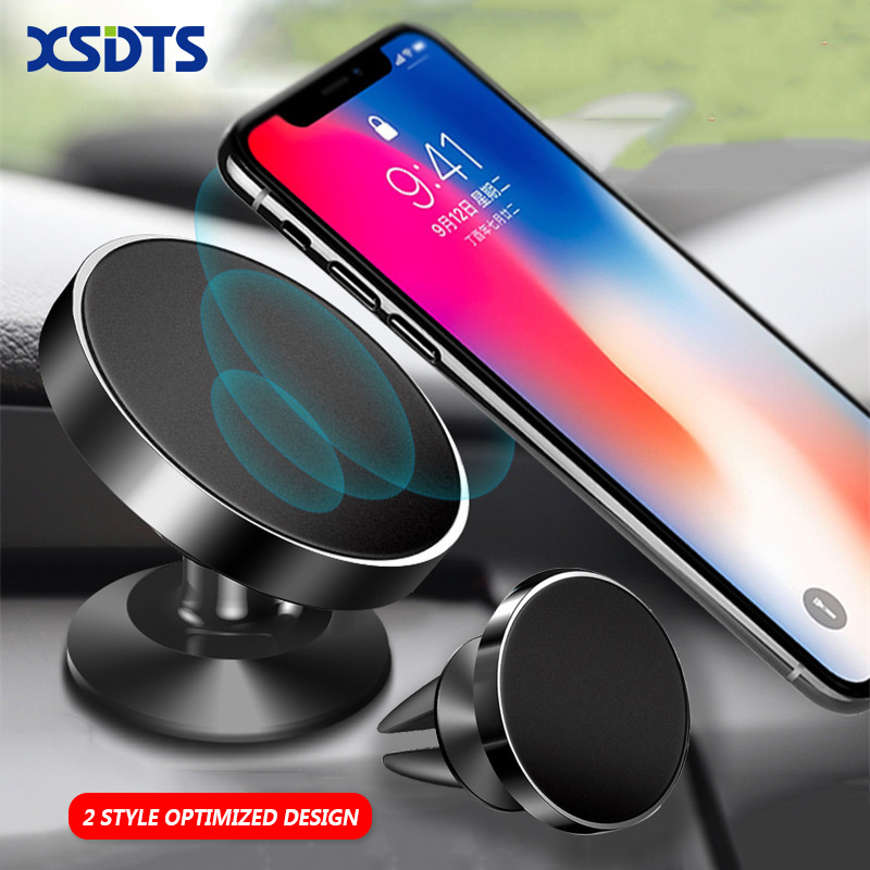 2 Style Universal Car Holder Air Vent Mount Magnetic Car Phone Holder Stand For IPhone X Samsung S9 GPS Bracket Phone Stand