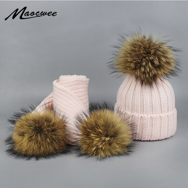 Women Children Winter Pom Pom Hats Beanie Warm Knitted Bobble Fur Fur Pompom Hat Scarf Set Kids' Nature Raccoon Fur Pompon Hat