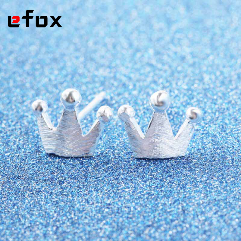 19 Style Fashion Silver Earring Cute Small Brushed Crown Stud Earrings for Women Party Gift