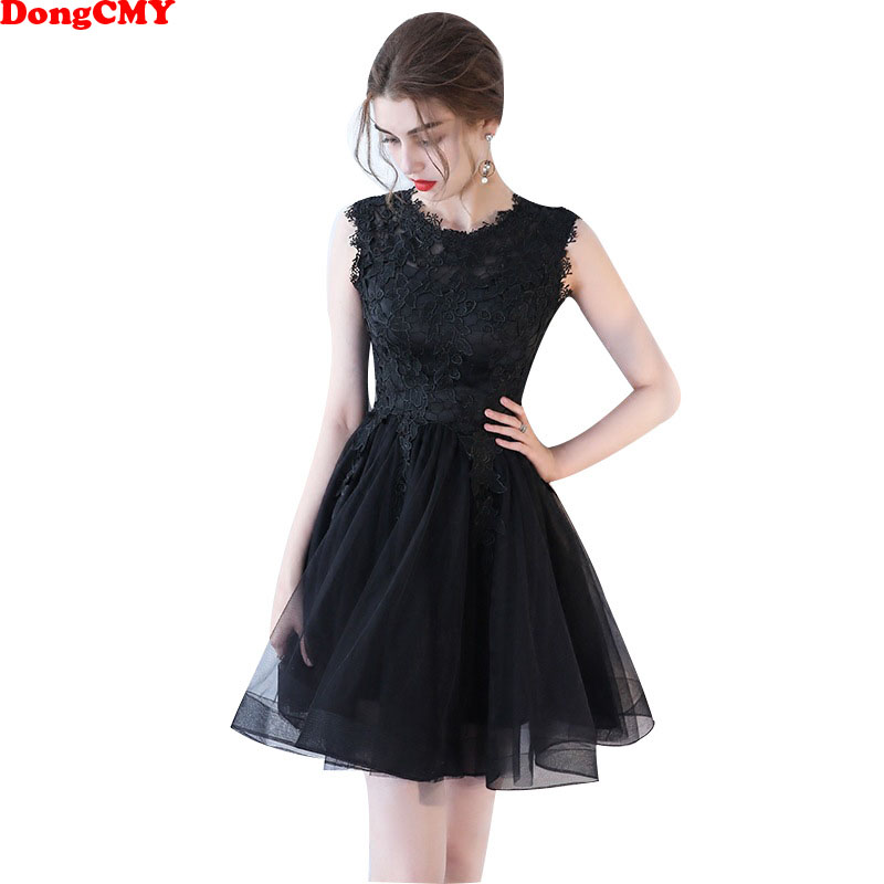 DongCMY 2019 New Short Cocktail Dresses Sexy Black Sleeveless Black Elegant Robe De Soiree Vestido Dress
