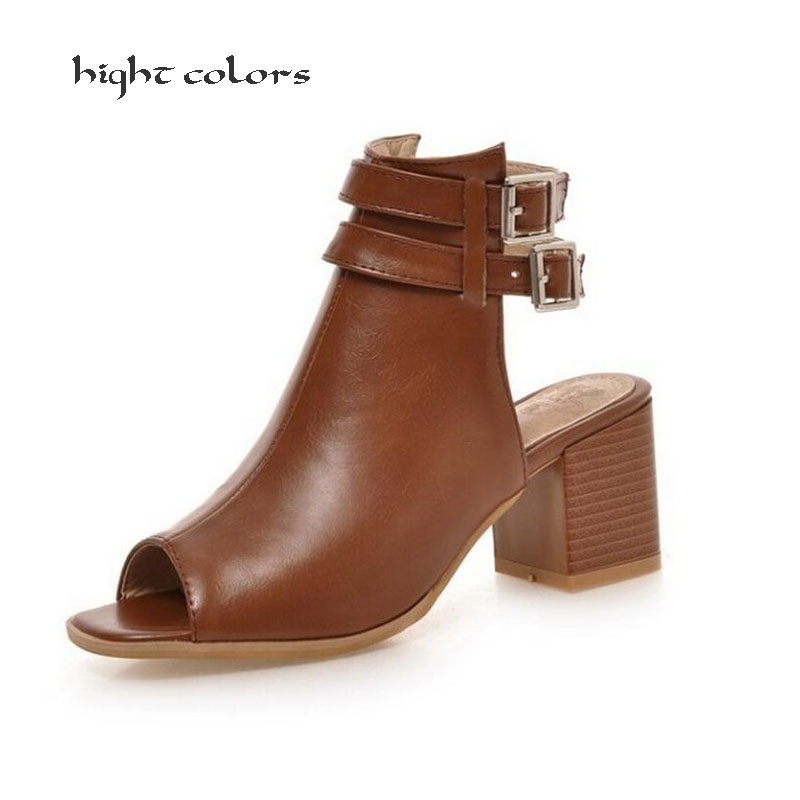 2018 New Summer Gladiator Sandals Shoes For Women Thick Heel Cork Open Toe Women Lady Ankle Boot Belt Buckle Women Shoes new summer women sandals open toe women s sandles thick heel women shoes korean style gladiator shoes