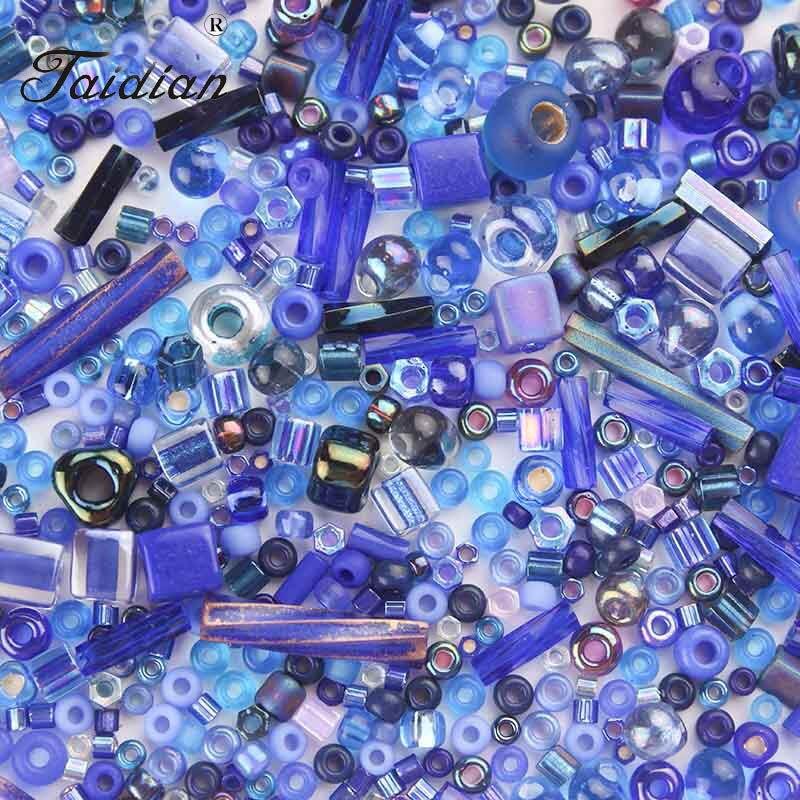 Taidian Ассорти микс синий Стекло Seedbeads рокайль стекляруса смешанные бусины DIY браслет ювелирных изделий Аксессуары 5 г/лот