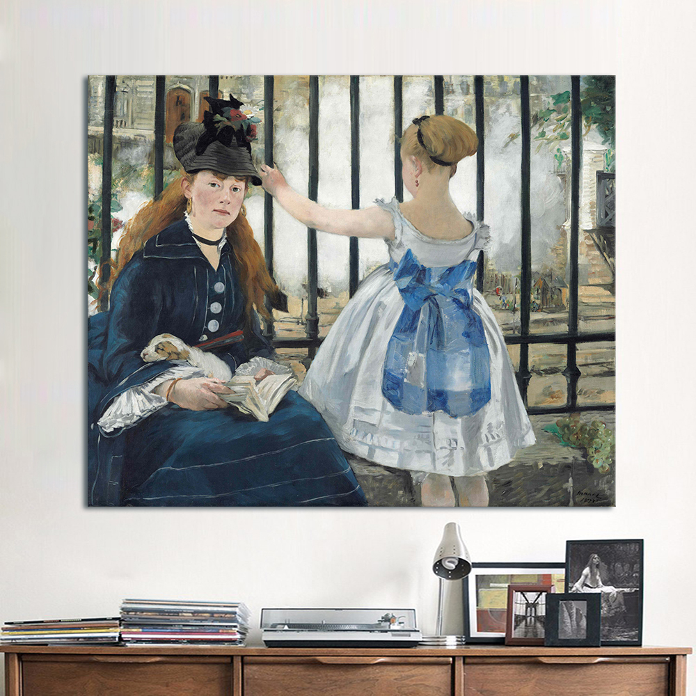 HDARTISAN Impressionism Oil Painting Edouard Manet The Railway Home Decor Wall Pictures For Living Room Canvas Art Printed