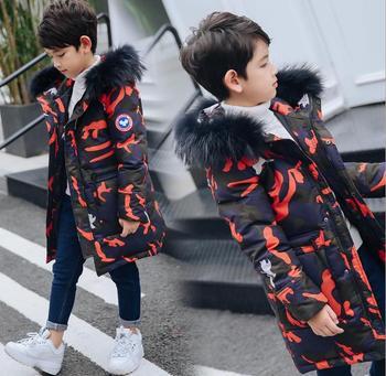 Boys' down jacket, goose camouflage, big boy's coat, winter thickening, medium long hat, big hat collar, children's wear.boys