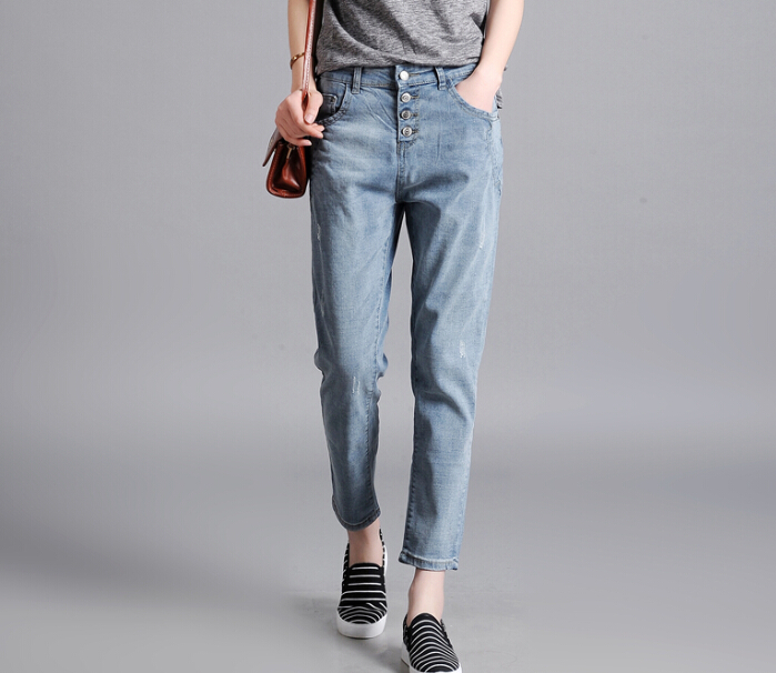 Casual jeans denim women pants plus size cotton blend hole female trousers loose spring auutmn summer ankle-length pants klf0601