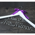 Personalized wedding hanger, custom  Brides Hanger, Bridal Dress Hanger, wedding hanger with purple bow, wedding gift