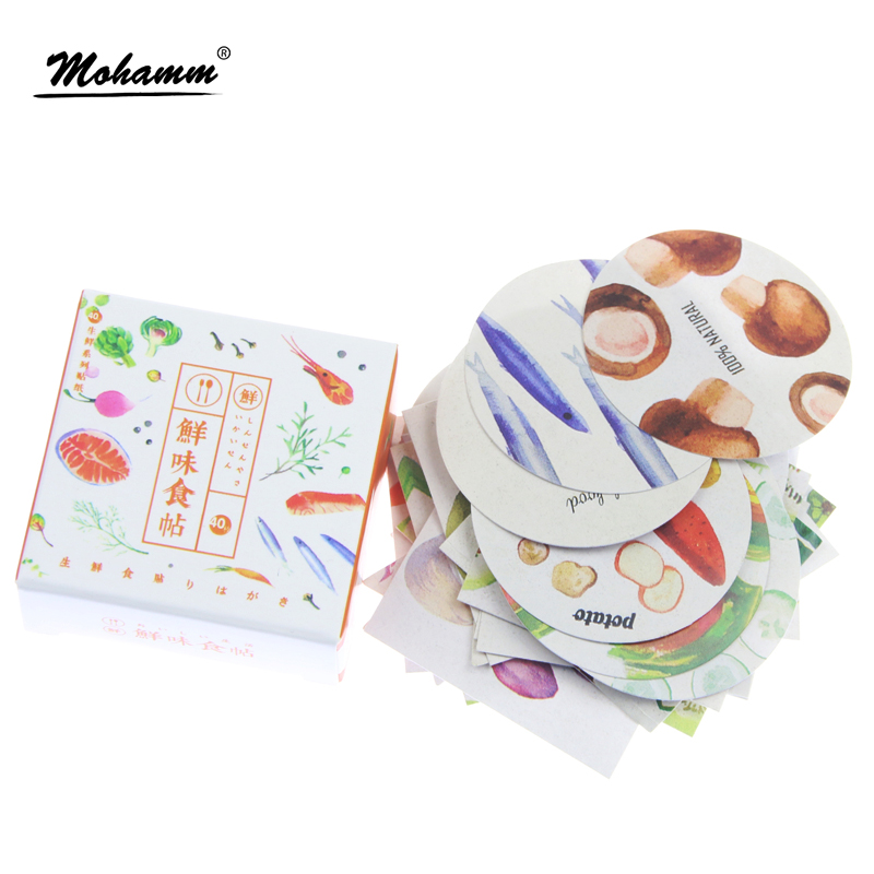 40 Pcs/box Cute Delicious Seafood Papers Stickers Flakes Vintage Romantic Love For Diary Decoration Diy Scrapbooking Sticker корм tetra tetramin xl flakes complete food for larger tropical fish крупные хлопья для больших тропических рыб 10л 769946
